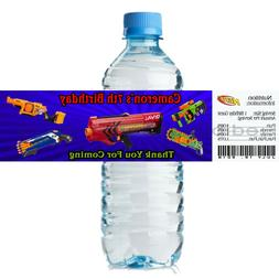 Personalized NERF GUN 2 x 8 Weatherproof Water Bottle Label