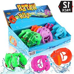 12 Pack Squirt Water Guns | Cartoon Animal Plastic Super Toy