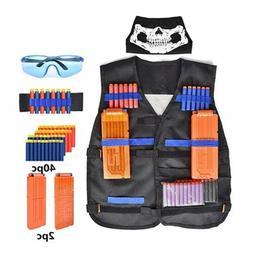 Children Tactical Toy Vest Suit Kit Nerf Gun Clips Foam Bull