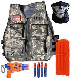 VOROSY XMS427 Woodland Camo Elite Tactical Vest Kit for Nerf