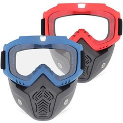 2 Pack Face Mask, Tactical Mask with Protective Goggles Comp