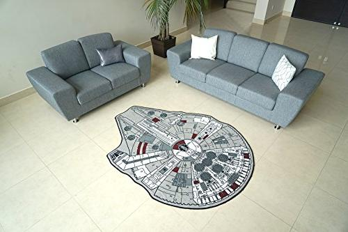 "Star Wars Large Millenium Falcon Rug, 59"" L x 79"" W"