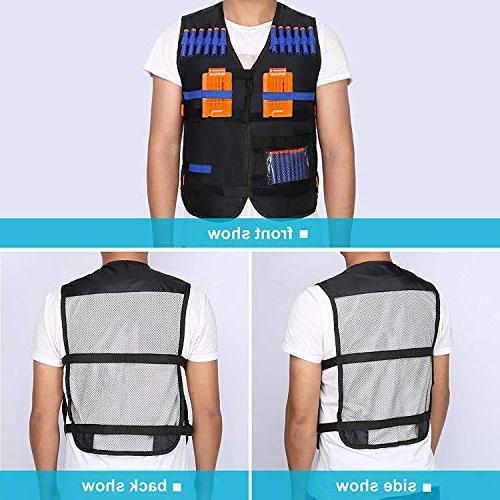 Yosoo Tactical Vest with 20 Pcs Soft Darts for Nerf N-strike Elite Series