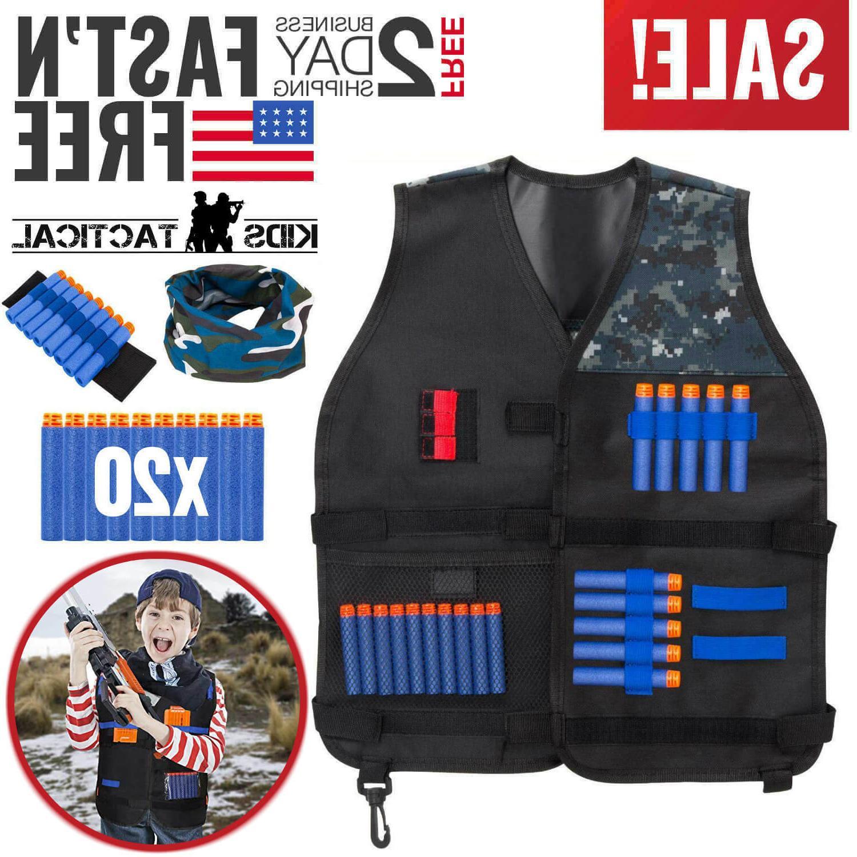 Nerf Tactical Vest Kit Kids Darts Mask Wrist Band for N-Stri