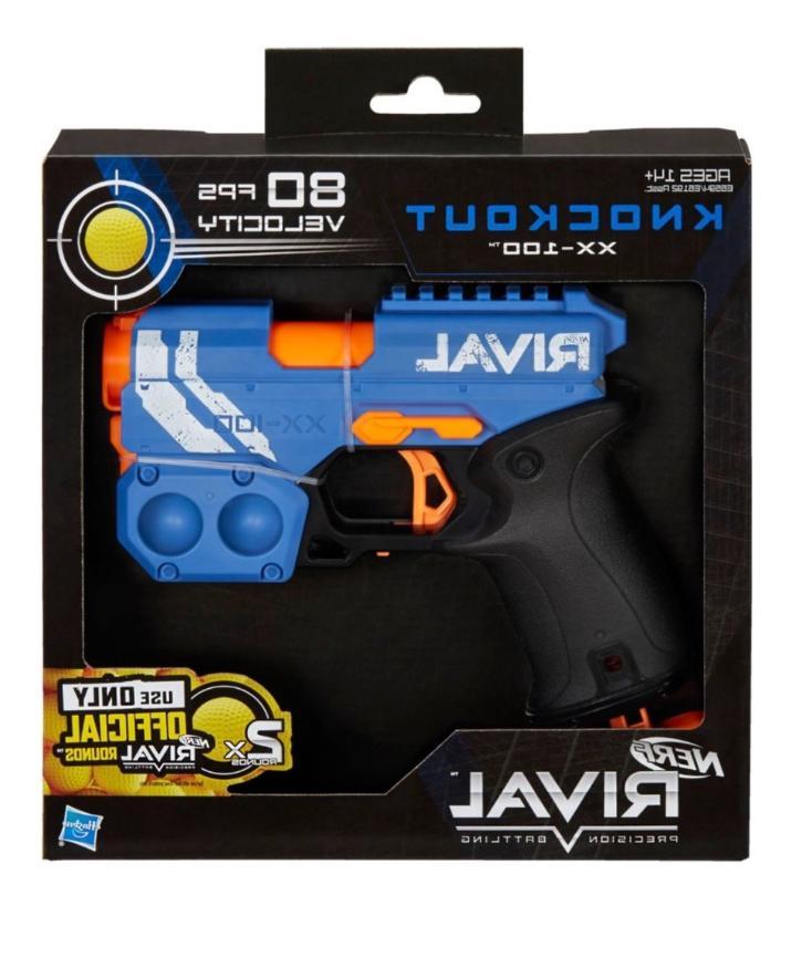 New Knockout Blaster Blue Toy Hand Guns Darts