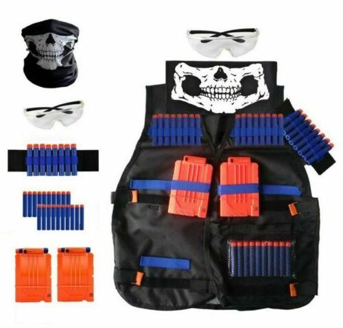 For Boys ALL-IN-1 TACTICAL VEST Kit Gun Strike Foam Mask Glasses