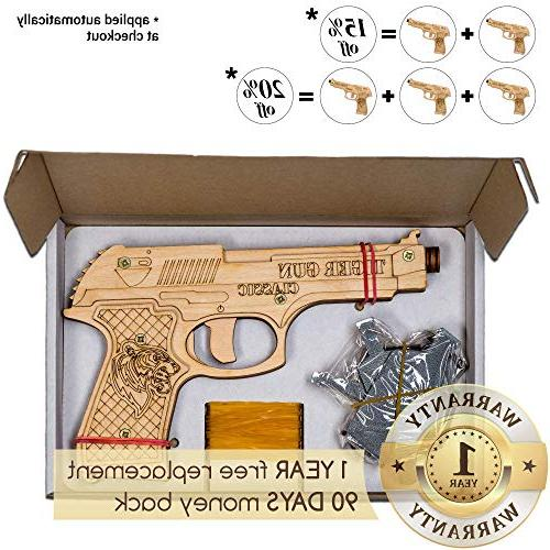 Rubber Gun Toy Pistol for 6 Ammo and for Indoor and Toy   Tiger