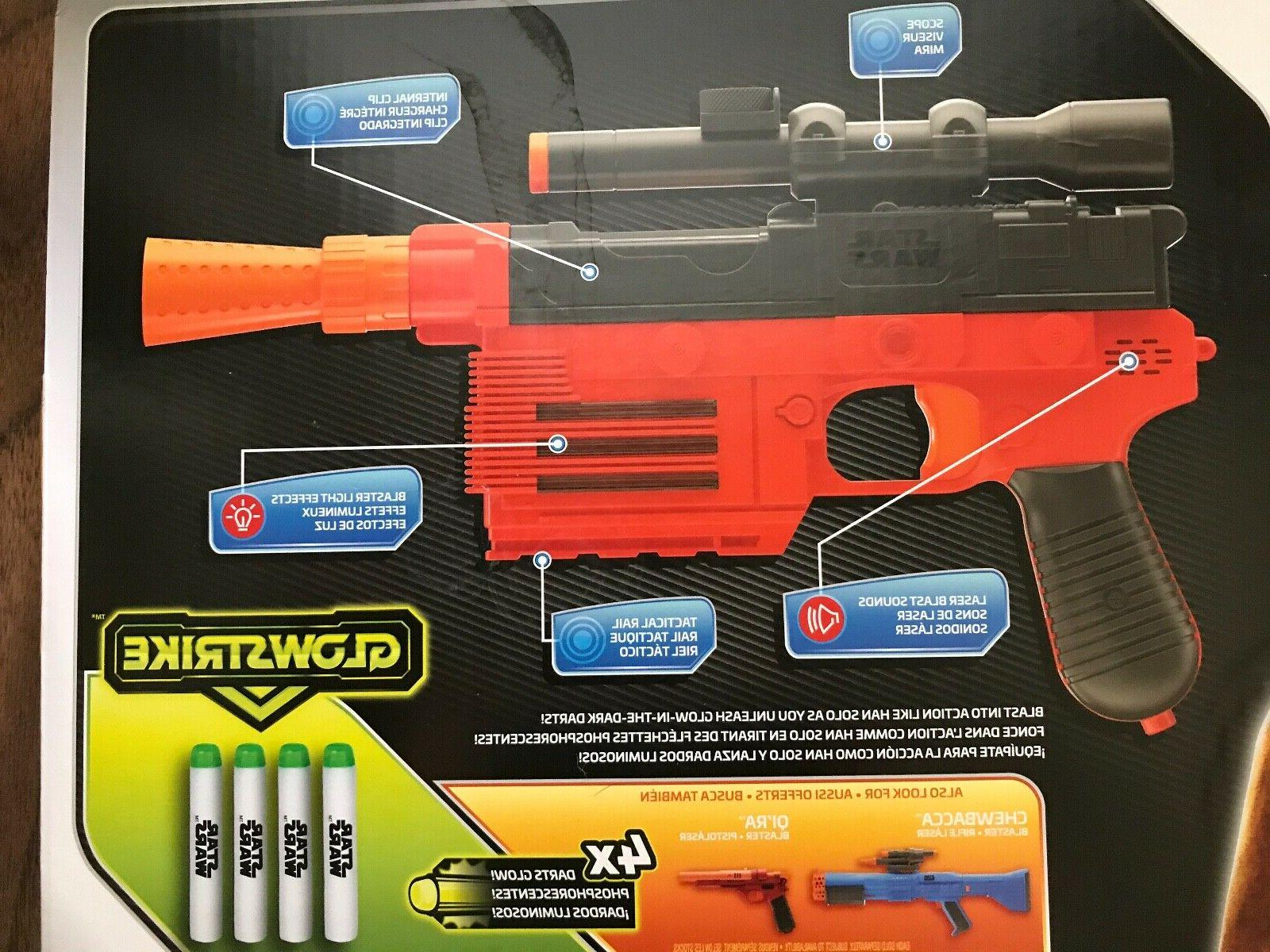 STAR NERF Lot 2 Two HAN SOLO Pistols Soft Darts NEW