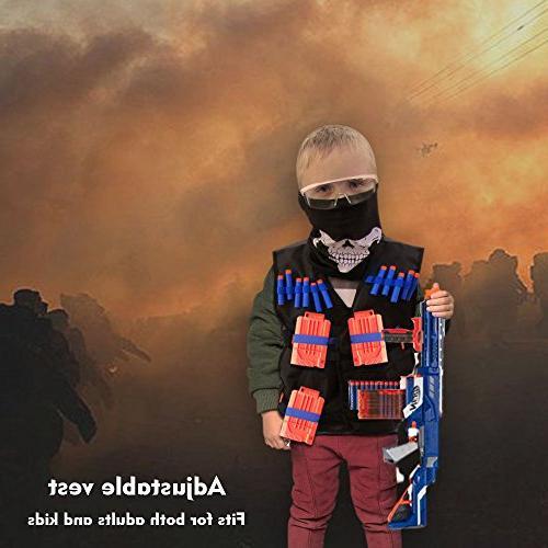 Locisne Kids Vest Kit with Nerf N-Strike Foam Clips, Hand Wrist Eyewear, Tube for Boys and