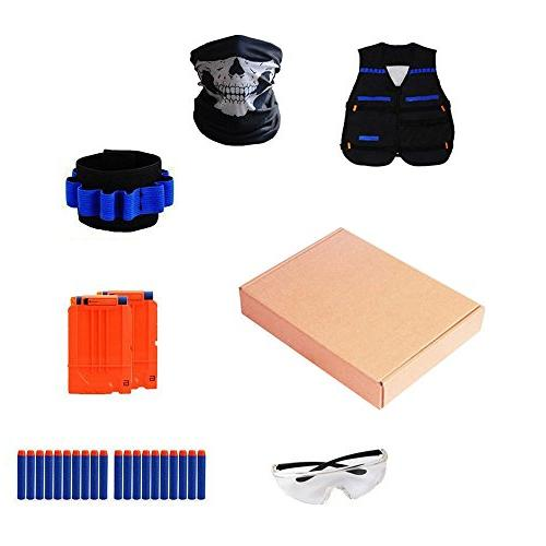 Locisne Kids Tactical Kit with N-Strike Refill Foam Quick Clips, Tactical Vest, Hand Wrist Band, Eyewear, for and Girls