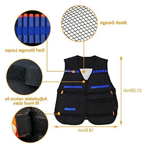 Locisne Kids Tactical Kit with Nerf N-Strike Foam Clips, Tactical Vest, Wrist Vision for