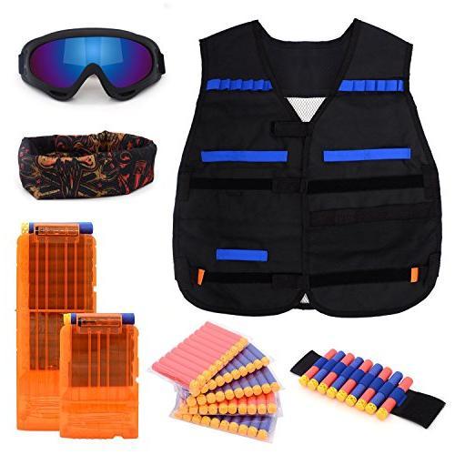 Forliver Kids Tactical Vest Kit, Kids Vest Nerf N-strike Elite 50 Refill 2 Face Tube Mask Protective Glasses