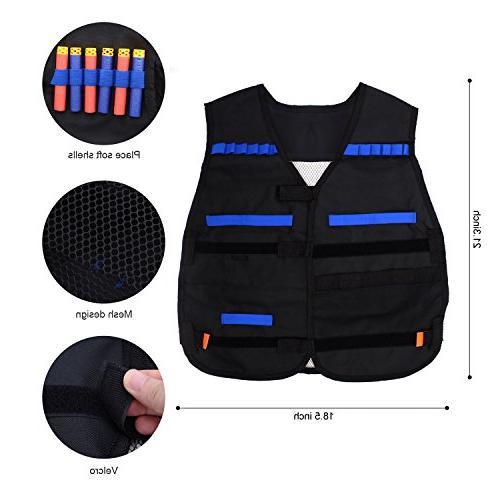Forliver Tactical Kit, Elite Vest N-strike 50 + 2 Reload Face Tube Protective