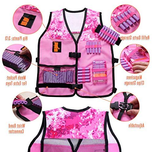 Girls Vest Compatible Nerf N-Strike with Refill Darts, Tactical Mask, and