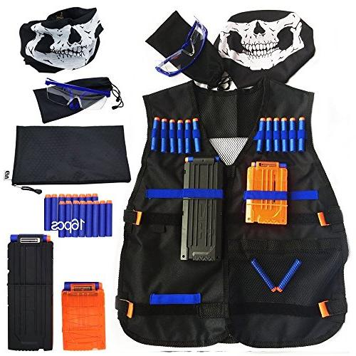 Tactical Vest for Nerf Series Darts,Mask,Two Glasses Kids