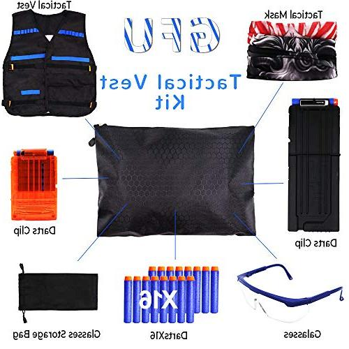 Tactical Vest for Nerf Guns Series Darts,Mask,Two Glasses Kids