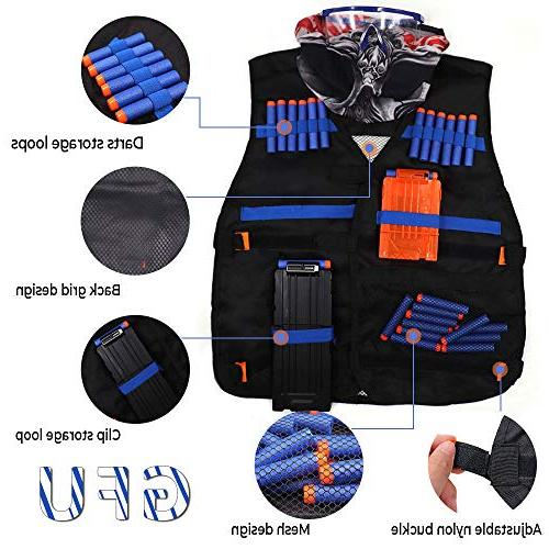 Tactical Nerf N-Strike Series Vest,Refill Darts,Mask,Two Clips,Protective for Kids