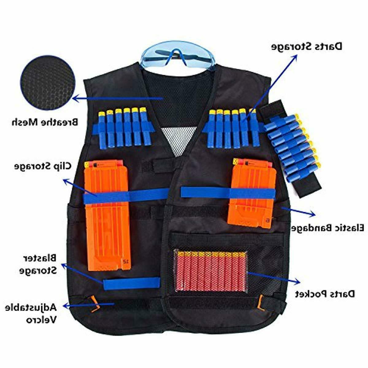 Tactical Vest with Foam Bullet for Nerf Guns N-Elite Kids