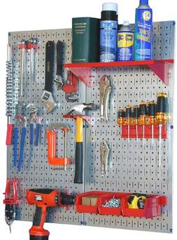 Metal Pegboard Utility Tool Storage Kit - Galvanized Steel P
