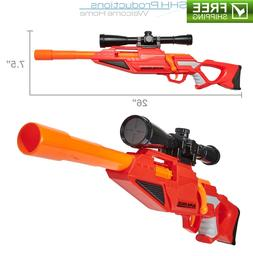 Nerf Gun Sniper Rifle Blaster w Scope & Rail Adapter & 4 Foa