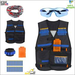 Nerf Vest Kids Tactical Foam Darts Mask Glasses Kit Set For