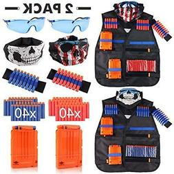 Tactical Vest Blasters & Foam Play Kit 2 Pack For Nerf Guns