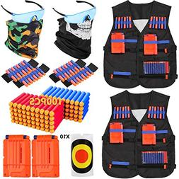 PINKULL 2 Pack Tactical Vest Kit for Nerf Guns N-Strike Elit