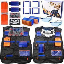 Tactical Vest Set of 2 Vest Kit for Nerf Guns Games, Include