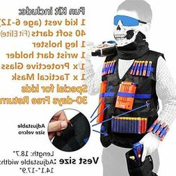 Tactical Vest Kit with Foam Darts Bullet for Nerf Guns N-Eli