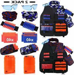UWANTME 2 Pack Kids Tactical Vest Kit for Nerf Guns N-Strike
