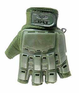 Valken Half Finger Plastic Back Gloves, Black, X-Small/Small